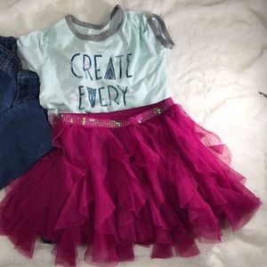 Bundle size 8 jeans. Ruffle skirt and T shirt.